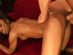 Sexy ebony athletic babe Marie Luv receives doggy style and front entry