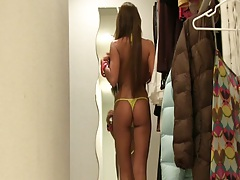 Amateur girlfriend AlisonSexgf in her closet topless