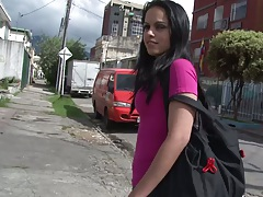 Latina hottie Pamela Cardenas picked up on the sidewalk and undresses