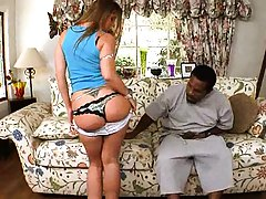 Kaylynn Kage is a milf on a couch with black shaft