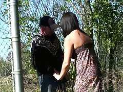 Hot babe sucking dick outdoors public sex