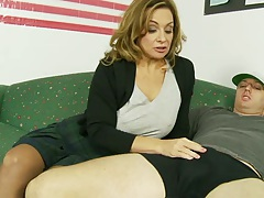 Handjob and blowjob from half dressed Rebecca Bardoux with sex