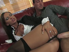 Christine Roberts takes a large cock sideways half dressed