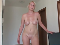 Blonde Nike Natat standing naked with those great natural tits