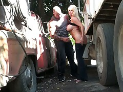 Sexy babe Karen Fisher fucked in public parking lot