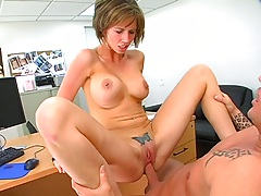 Reverse cowgirl shaved pussy busty sex Destiny Porter and jerks that dick