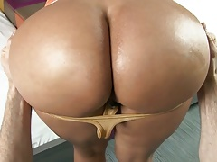 Paola milf pulling down panties and getting ass shiny from oil