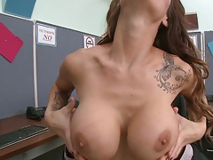 Office big tits titty fuck and handjob with Sandee Westgate