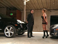 Milf Nikki Benz sucking mans cock in the parking lot