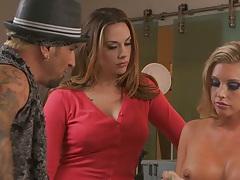 Chanel Preston and Samantha Saint group living room sex