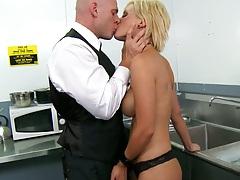 Big tits Lexi sucking the waiter