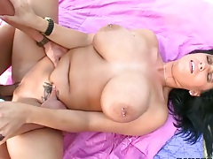 Lachasse enjoys and moans outdoors while fucked by the pool