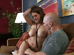 Big tits pornstar Eve Laurence is back for more cock