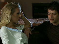 Blonde Nicole Aniston making out with guy while he slowly moves downstairs