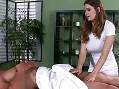 Hot busty babe Allison Moore is a sexy masseuse