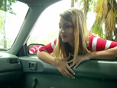 Teen hitchhiker Staci Silverstone picked up on the street outdoors in public