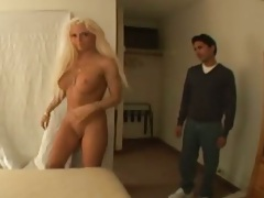 Blonde Diamond getting on bed on suck some dick