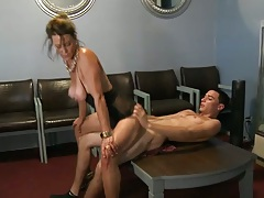 Reverse cowgirl with milf fucking young mans penis