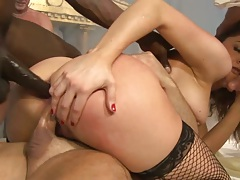 Gang bang double penetration rough sex with deep throat from slut Chanel Preston