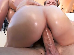 Anal sex cowgirl with oil and Mackenzee Pierce outdoors and ass to mouth