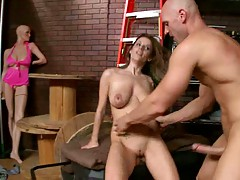 Eating fresh student pussy in the back room