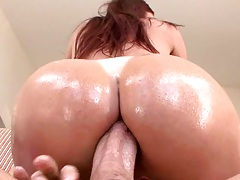 Cowgirl fucking ass with oil and anal