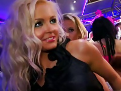Blonde hottie looking for cock at a club group party