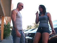 Teen asian pick up of Katreena Lee outdoors in parking lot