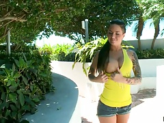 Outdoor big tits Christy Mack pulls down her shorts