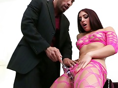 Fishnet small tits Mischa Brooks blowjob and sucking some balls