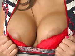 Undressing big tits Valery Summer spreading her legs with no panties