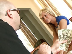Blowjob with blonde Crista Moore fucked for money
