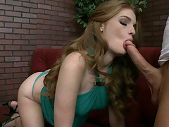Lifting up Fae Reagan hair while she sucks spreads