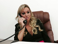 Babe blonde Abbey Brooks chatting up on the phone in office showing tits