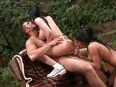 Threesome blowjob and cowgirl with big tits Rebeca Linares and Alektra Blue