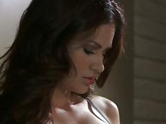 Brunette super babe Vanessa Veracruz spreading her legs and masturbating