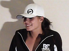 Hot babe is being a tom boy in a baseball cap