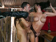 Big tits slut Savannah fucked in a tools shed
