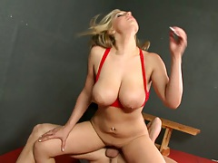 Big tit sin red bra sporty slut sideways penetration