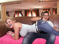 Hot milf in jeans Zoe sitting on dude