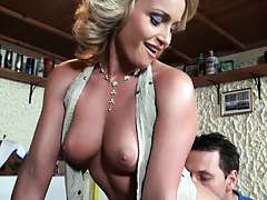 Milf slut fucked on a table from behind with tits bouncing