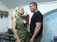 Fully clothed blonde Victoria Rush strip and gets fingered