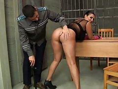 Police station big butt gets licked and eaten