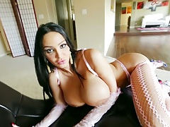 Big tits lingerie Amy Anderssen slowly approaching to suck dick