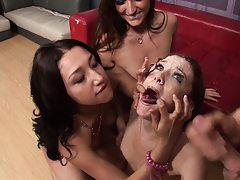 Sluts lick the semen off their girlfriends forehead