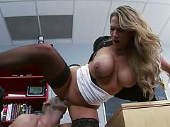 Big tits teacher Alanah Rae sits on cock on desk