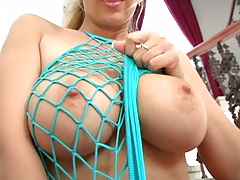 Big tits Carol Goldnerova in sex fishnet dress solo shaved pussy dildo masturbation