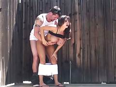 Outdoors doggy style sex with Madison Ivy