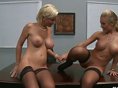 Hot naked big tits sluts in the office with Mick and Johnny