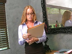 Big tits boss Nikky delivering some papers at work